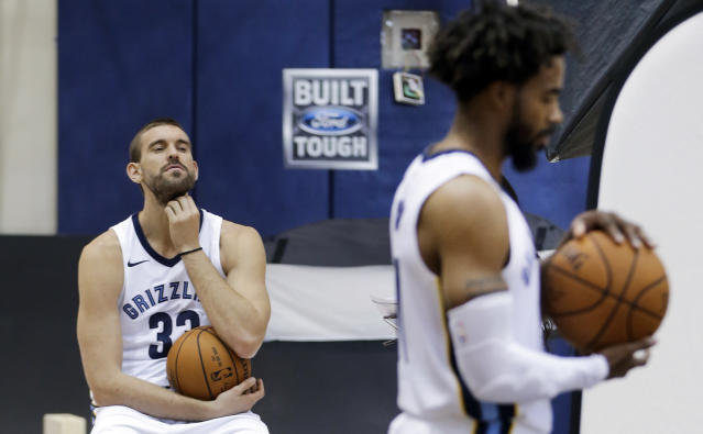 "<a class=""link rapid-noclick-resp"" href=""/nba/players/4325/"" data-ylk=""slk:Marc Gasol"">Marc Gasol</a> is taking a wait-and-see approach with the Grizzlies. (AP)"