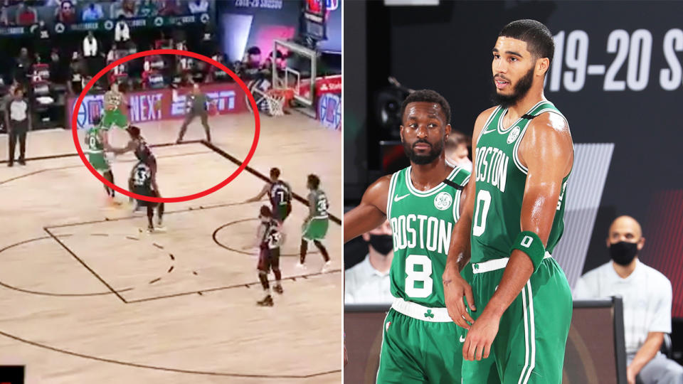 Jayson Tatum (pictured right) looking bemused and Raptors coach Nick Nurse (pictured left) walking on the court.