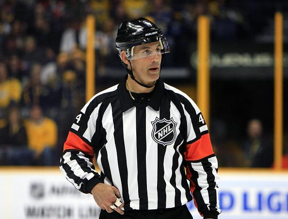 October 22, 2016: Referee Wes McCauley (4) is shown during the NHL game between the Nashville Predators and the Pittsburgh Penguins, held at Bridgestone Arena in Nashville, Tennessee. (Photo by Danny Murphy/Icon Sportswire via Getty Images)