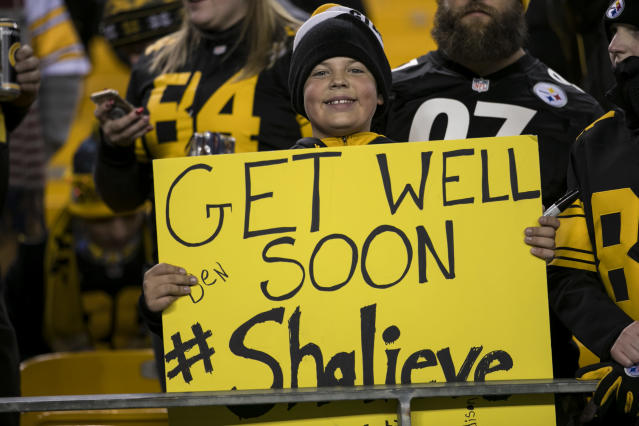 <p>A young Steelers fan holds a sign supporting Pittsburgh Steelers Linebacker Ryan Shazier (50) during the game between the Baltimore Ravens and the Pittsburgh Steelers on December 10, 2017 at Heinz Field in Pittsburgh, Pa. (Photo by Mark Alberti/ Icon Sportswire) </p>