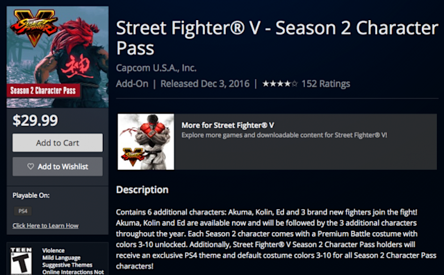 Street Fighter V Season 2 Character Pass PlayStation Store page (PlayStation)