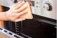 "<p>It's not the first place you think to clean, but next time you head to your dishwasher, check the door...if you dare. A surprising amount of food grime settles around the buttons, hinges, edges and handles of your dishwasher, and a simple wipe down will clean it off. </p><p><a class=""link rapid-noclick-resp"" href=""https://www.amazon.com/Swedish-Dishcloth-Cellulose-Sponge-Cloths/dp/B07GX6TRQX/?tag=syn-yahoo-20&ascsubtag=%5Bartid%7C1782.g.33584458%5Bsrc%7Cyahoo-us"" rel=""nofollow noopener"" target=""_blank"" data-ylk=""slk:SHOP REUSABLE SPONGE CLOTHS"">SHOP REUSABLE SPONGE CLOTHS</a></p>"