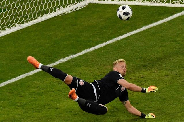 Denmark's goalkeeper Kasper Schmeichel earned praise for his outstanding display in the 1-0 win over Peru during the 2018 World Cup Group C football match against Peru at the Mordovia Arena in Saransk. (AFP Photo/JUAN BARRETO )
