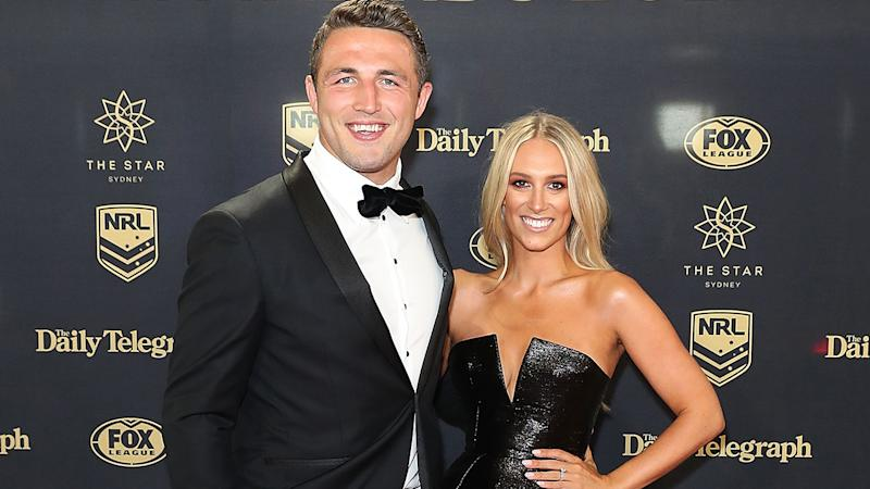 Sam Burgess, pictured here with ex-wife Phoebe at the 2017 Dally M Awards.
