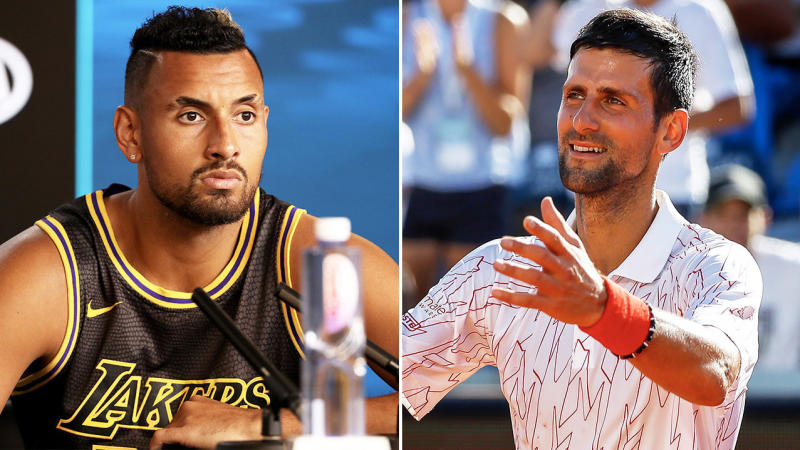 Nick Kyrgios (pictured left) has let rip at Novak Djokovic's (pictured right) Adria Tour event after a second player has tested positive for coronavirus. (Getty Images)