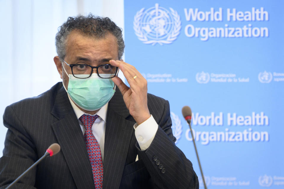 FILE - In this Monday, May 24, 2021 file photo, Tedros Adhanom Ghebreyesus, Director General of the World Health Organization (WHO), speaks at the WHO headquarters, in Geneva, Switzerland. The head of the World Health Organization said Thursday, July 15 that he is asking China to be more transparent as scientists search for the origins of the coronavirus and acknowledged it was premature to rule out that the pandemic may have been linked to a laboratory leak. (Laurent Gillieron/Keystone via AP, File)