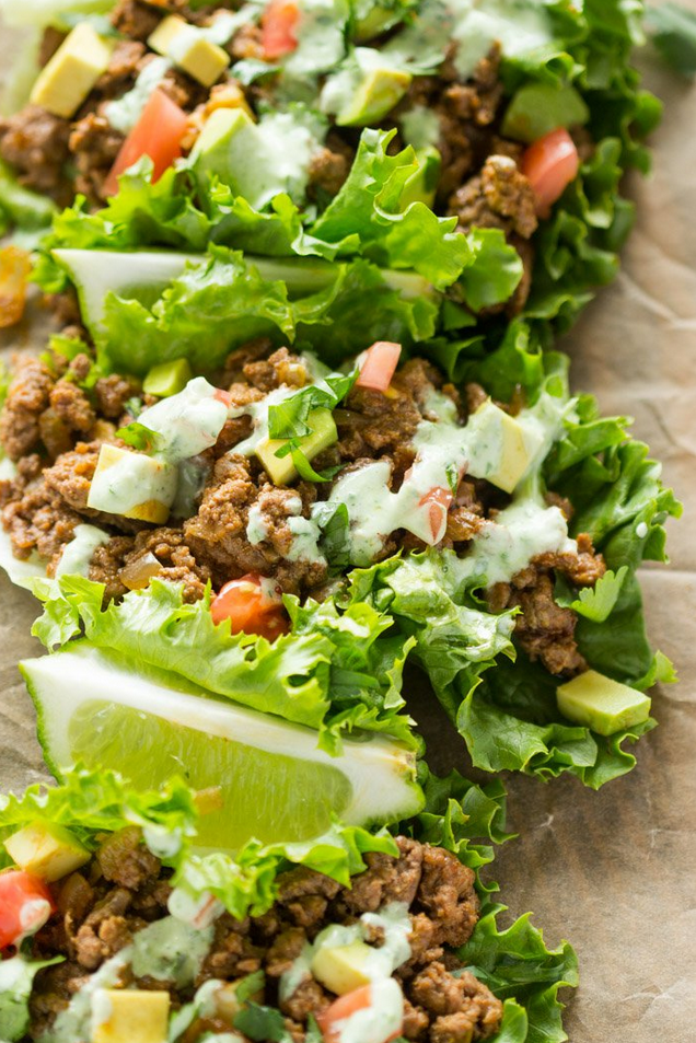 "<p>Replace the tortilla with lettuce wraps for a healthier option on Taco Tuesday. </p><p><em><a href=""http://gimmedelicious.com/2016/03/04/beef-lettuce-wraps-with-spicy-cilantro-jalapeno-sauce/"" rel=""nofollow noopener"" target=""_blank"" data-ylk=""slk:Get the recipe from Gimme Delicious »"" class=""link rapid-noclick-resp""><span class=""redactor-invisible-space"">Get the recipe from Gimme Delicious »</span></a></em><br></p>"