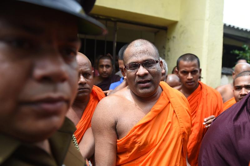 Sri Lankan Buddhist monk Galagodaatte Gnanasara is on bail facing hate speech charges and insulting the Koran, one of a number of prominent Buddhist clergy in Asia who espouse anti-Muslim rhetoric (AFP Photo/Ishara S. KODIKARA)