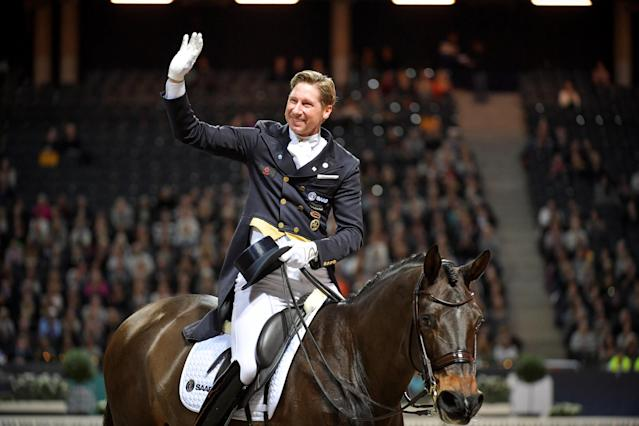 Equestrian - Sweden International Horse Show - FEI Grand Prix Freestyle to Music event - Friends Arena, Stockholm, Sweden - December 3, 2017 - Patrik Kittel of Sweden rides his horse Deja. TT News Agency/Jessica Gow via REUTERS ATTENTION EDITORS - THIS IMAGE WAS PROVIDED BY A THIRD PARTY. SWEDEN OUT. NO COMMERCIAL OR EDITORIAL SALES IN SWEDEN