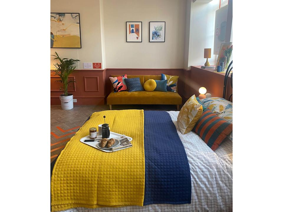 Bright colours are everywhere when it comes to bedding, sofa beds and other soft furnishingsEleanor Jones
