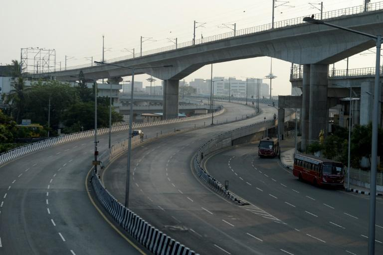 A partially deserted road during a lockdown imposed in Chennai, India