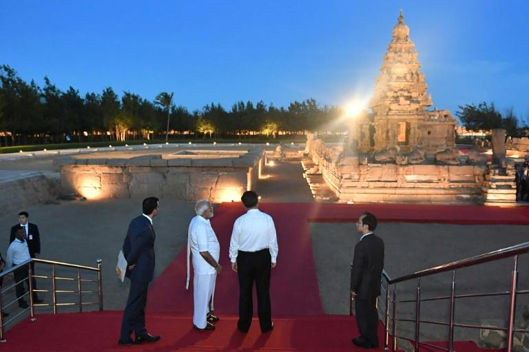 The World Heritage site of Mahabalipuram, where Indian Prime Minister Narendra Modi (2L) and Chinese President Xi Jinping (2R) are meeting, is home to historical monuments that pay testament to India and China's ancient ties (AFP Photo/Handout)
