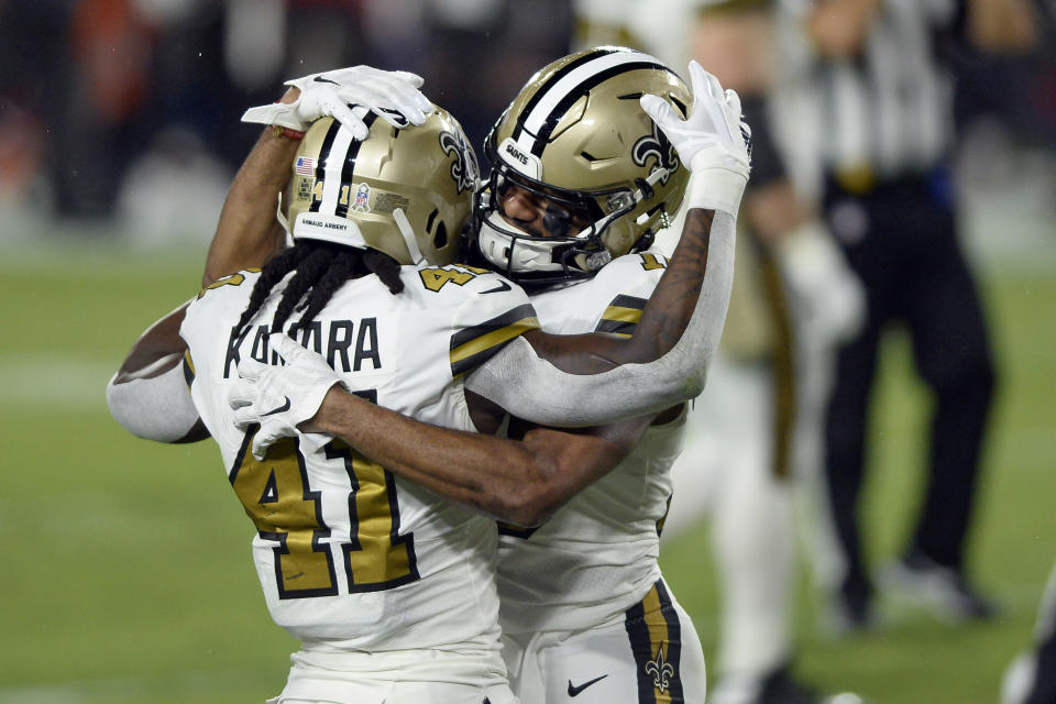 New Orleans Saints wide receiver Tre'Quan Smith celebrates his touchdown reception against the Tampa Bay Buccaneers with running back Alvin Kamara (41). (AP Photo/Jason Behnken)