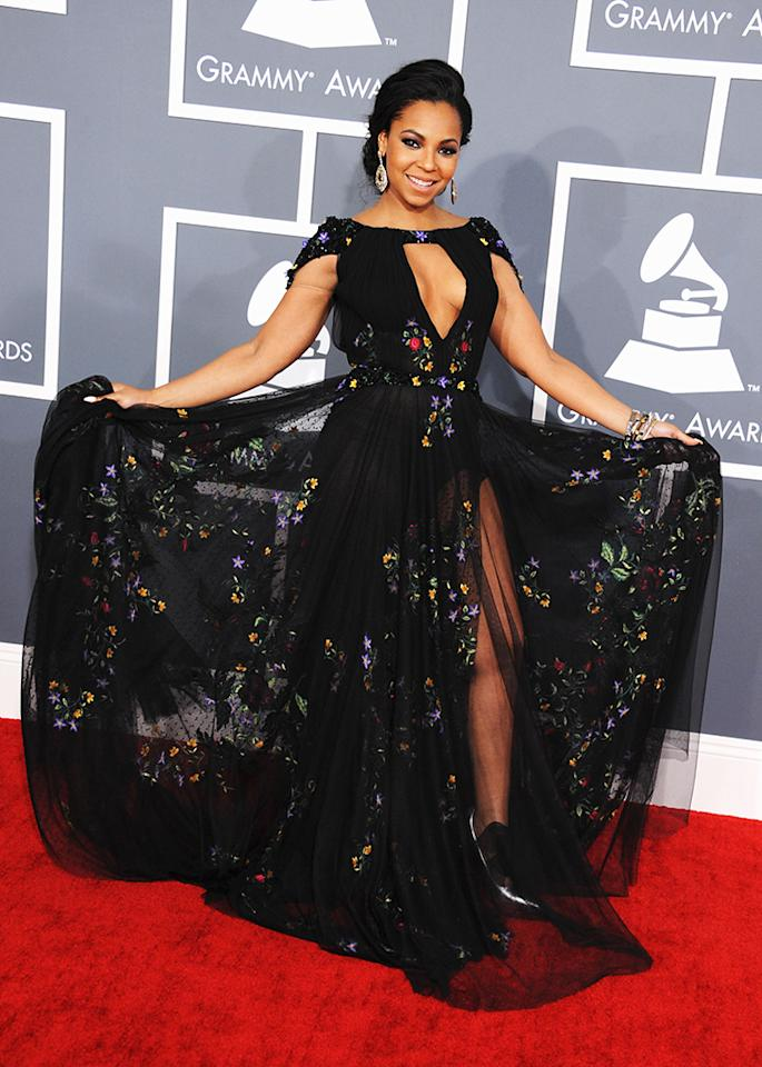 Ashanti arrives at the 55th Annual Grammy Awards at the Staples Center in Los Angeles, CA on February 10, 2013.