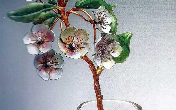 The Faberge design featurespear blossom in a vase - queen's own warwickshire and worcestershire charitable trust