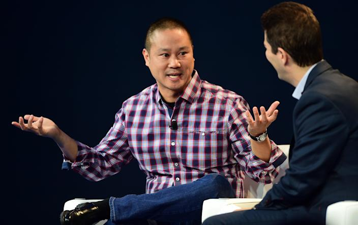 <p>Tony Hsieh, CEO of Zappos, responds to questions from interviewer Dennis Berman at  2015 WSJD Live on October 20, 2015 in Laguna Beach, California. </p> (AFP via Getty Images)