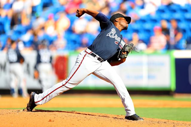 <p>Atlanta Braves pitcher Akeel Morris throws in the eighth inning of a baseball game against the New York Mets at First Data Field in Port St. Lucie, Fla., Feb. 23, 2018. (Photo: Gordon Donovan/Yahoo News) </p>