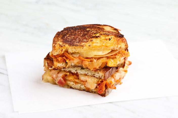 """The <a href=""""https://www.epicurious.com/expert-advice/grilled-cheese-sandwich-chakalaka-article?mbid=synd_yahoo_rss"""" rel=""""nofollow noopener"""" target=""""_blank"""" data-ylk=""""slk:chakalaka"""" class=""""link rapid-noclick-resp"""">chakalaka</a>—a spicy vegetable relish—makes these grilled cheese sandwiches truly special. <a href=""""https://www.epicurious.com/recipes/food/views/cheddar-braaibroodjies-grilled-cheese-sandwiches?mbid=synd_yahoo_rss"""" rel=""""nofollow noopener"""" target=""""_blank"""" data-ylk=""""slk:See recipe."""" class=""""link rapid-noclick-resp"""">See recipe.</a>"""