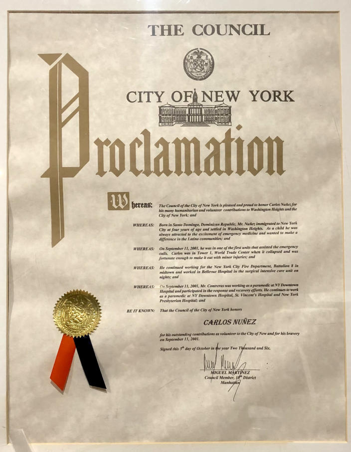 A proclamation given by the city to Nuñez for his work. (Courtesy Devyn Rafols-Nuñez)