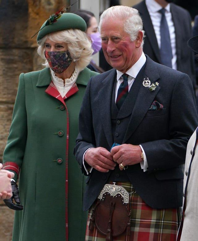 Camilla and Charles arrive at the Scottish Parliament