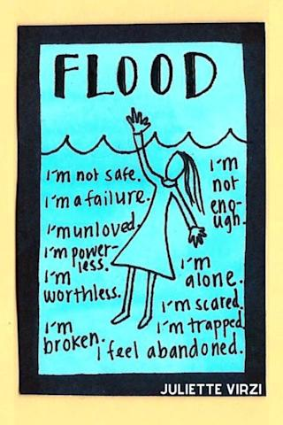 """Flood image - illustration of woman drowning with phrases around her like """"I'm not safe,"""" """"I'm powerless"""" and """"I'm trapped."""""""