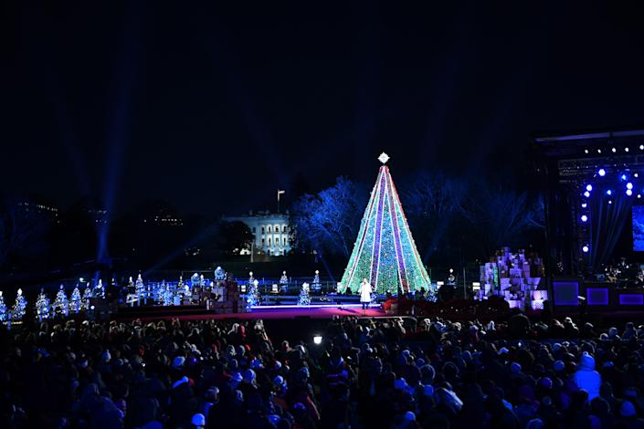 Singer Gabby Barrett performs during the lighting of the National Christmas Tree in Washington on Wednesday. (Photo: Brendan Smialowski/AFP/Getty Images)