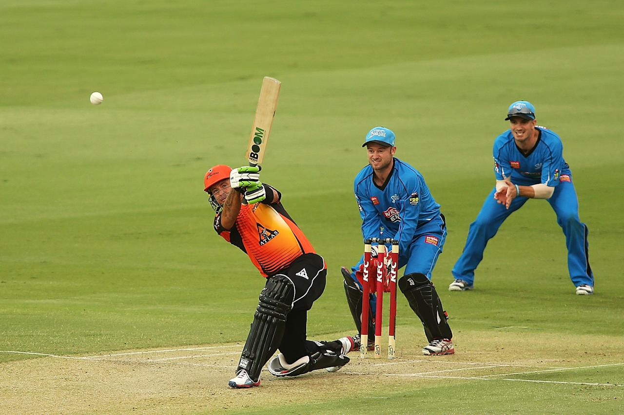 ADELAIDE, AUSTRALIA - JANUARY 10:  Herschelle Gibbs of Perth bats during the Big Bash League match between the Adelaide Strikers and the Perth Scorchers at Adelaide Oval on January 10, 2013 in Adelaide, Australia.  (Photo by Morne de Klerk/Getty Images)