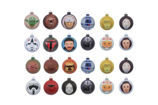 "<p>Bring the galaxy far, far away right into your home with this 24-piece set of ornament balls from the original trilogy, featuring Luke, Leia, Darth Vader, Han Solo, and Yoda. May the Force be with you this Christmas. <strong><a href=""https://www.merchoid.com/product/star-wars-bundle-of-24-christmas-ornaments-baubles/"" rel=""nofollow noopener"" target=""_blank"" data-ylk=""slk:Buy here"" class=""link rapid-noclick-resp"">Buy here</a></strong> </p>"