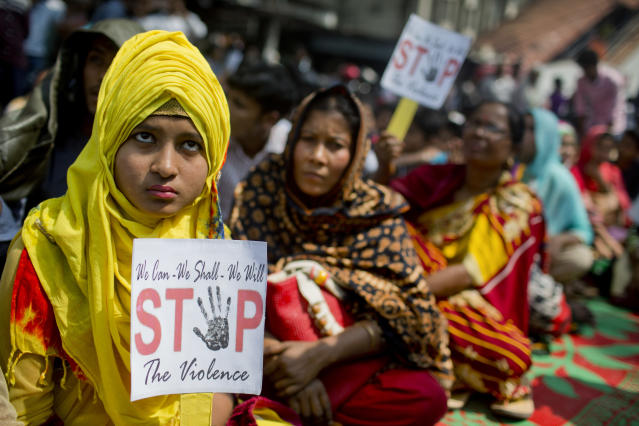 <p>Bangladeshi women hold placards during a rally to mark the International Women's Day in Dhaka, Bangladesh, Thursday, March 8, 2018. (Photo: A.M. Ahad/AP) </p>