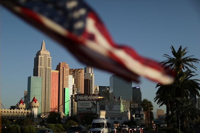 <p>The Las Vegas Strip is seen close to the Route 91 music festival mass shooting site next to the Mandalay Bay Resort and Casino in Las Vegas, Nev., Oct. 4, 2017. (PhotoL Lucy Nicholson/Reuters) </p>