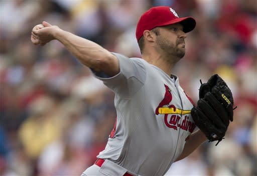 St. Louis Cardinals pitcher Jake Westbrook delivers a pitch during the first inning of an exhibition spring training baseball game against the Atlanta Braves on Tuesday, March 12, 2013, in Kissimmee, Fla. (AP Photo/Evan Vucci)