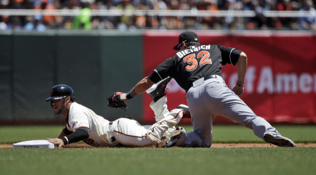 San Francisco Giants' Gregor Blanco steals second base past the tag attempt by Miami Marlins second baseman Derek Dietrich during the (bl) inning of a baseball game on Sunday, May 18, 2014, in San Francisco. (AP Photo/Marcio Jose Sanchez)