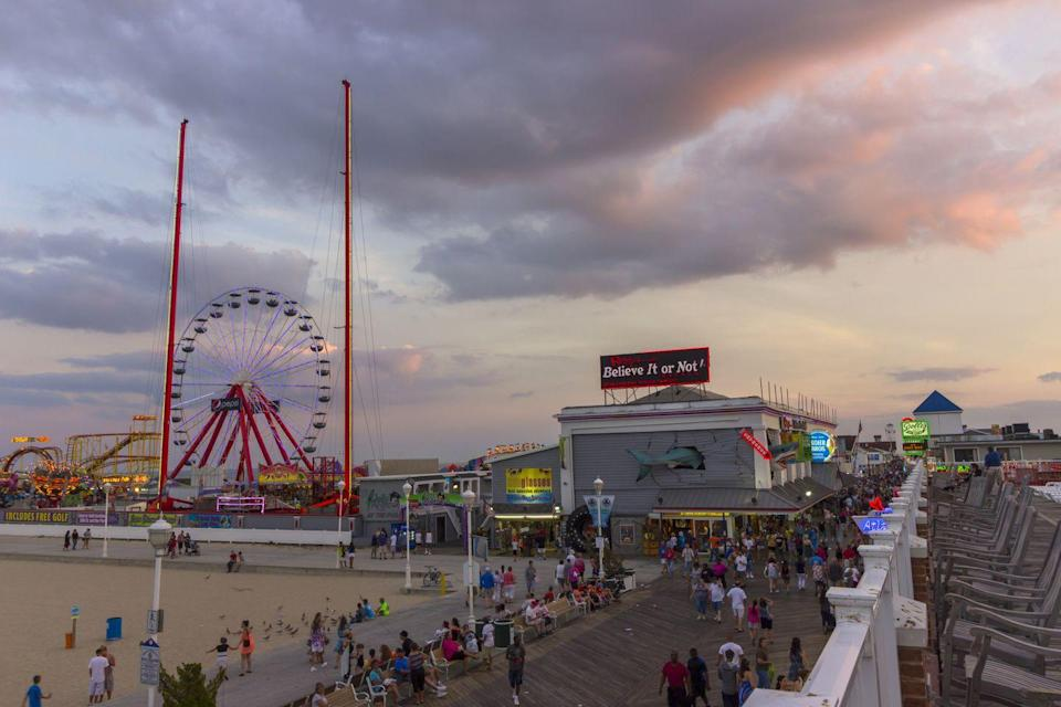 """<p>The seaside town of Ocean City is often busy with tourists during the summer season, but plan a staycation during the week for a dose of summertime fun. Enjoy the white sand beaches, stroll the boardwalk in search of tasty bites, and make sure to carve out time for a quality seafood dinner. If you prefer to be poolside, hit up <a href=""""https://splashmountainoc.com/park-info/"""" rel=""""nofollow noopener"""" target=""""_blank"""" data-ylk=""""slk:Splash Mountain Amusement Park"""" class=""""link rapid-noclick-resp"""">Splash Mountain Amusement Park</a> nearby—a fun destination for families with kids in tow.<br></p>"""
