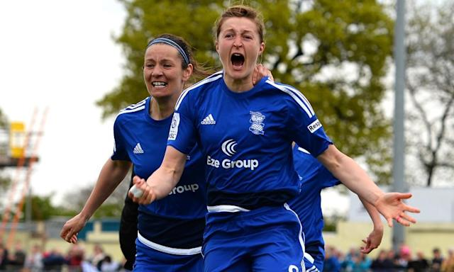 "<span class=""element-image__caption"">Birmingham's Ellen White celebrates scoring the winning penalty against Chelsea in the women's FA Cup semi-final in Solihull.</span> <span class=""element-image__credit"">Photograph: Tony Marshall/The FA via Getty Images</span>"
