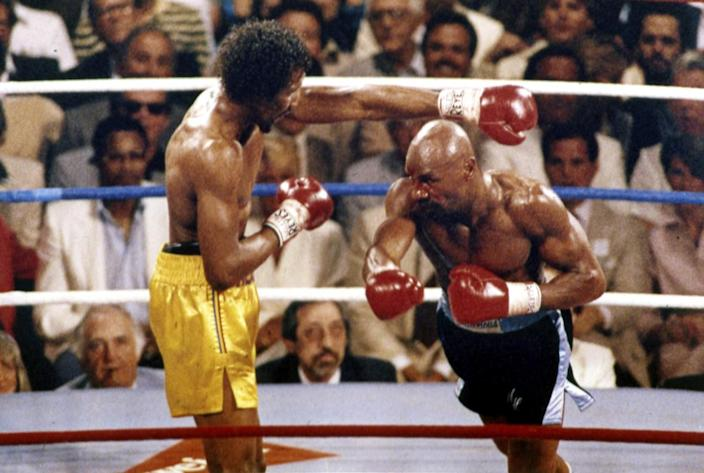 Marvin Hagler, right, stalks Thomas Hearns during a fight in the 1985.