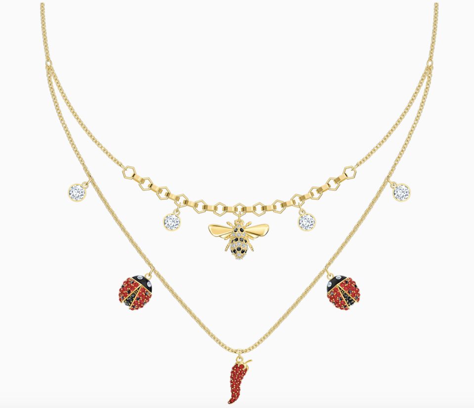 PHOTO: Swarovski. Lisabel Necklace, Red, Gold-Tone Plated