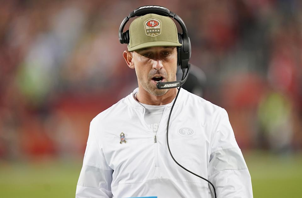 Coach Kyle Shanahan of the San Francisco 49ers stayed aggressive in overtime against the Seahawks. (Photo by Thearon W. Henderson/Getty Images)