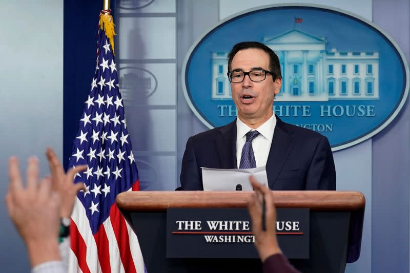 FILE PHOTO: Treasury Secretary Steve Mnuchin speaks at a news briefing