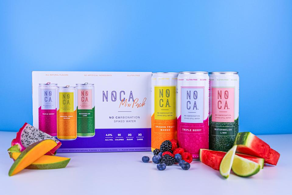 """<strong><h3><a href=""""https://www.drinknoca.com/our-flavors"""" rel=""""nofollow noopener"""" target=""""_blank"""" data-ylk=""""slk:NOCA Spiked Water"""" class=""""link rapid-noclick-resp"""">NOCA Spiked Water<br></a></h3></strong> <br>NOCA is one of those things that I would literally never think about purchasing normally because one, I believe seltzer is far superior to flat water and two, I still cannot believe that <em>hard water</em> exists. That being said, my brother and his fitness-loving, recently-into-nutrition best friend were obsessed with them. """"This is it! This is like if you made Propel into alcohol and I love it!"""" my brother yelled to nobody in particular before demanding I refill his cup. While some of the drinkers (myself included) said they would like it better if it had bubbles, the general consensus was that these were so easy to drink and so low in calories that they would be the perfect addition to a day drinking extravaganza. When it came to best flavor, they all chose Dragon Fruit Mango.<br>"""