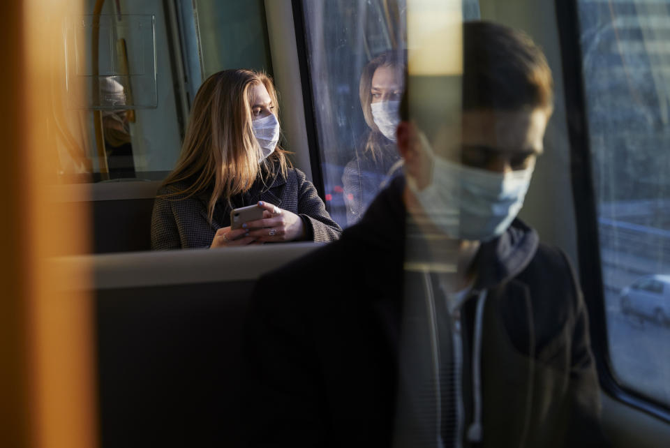 It is compulsory to wear a mask on public transport in the UK. (Getty Images)