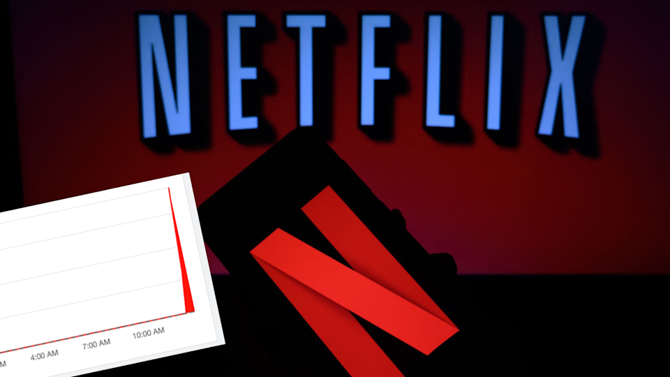 Image of Netflix on screen with chart of outage reports