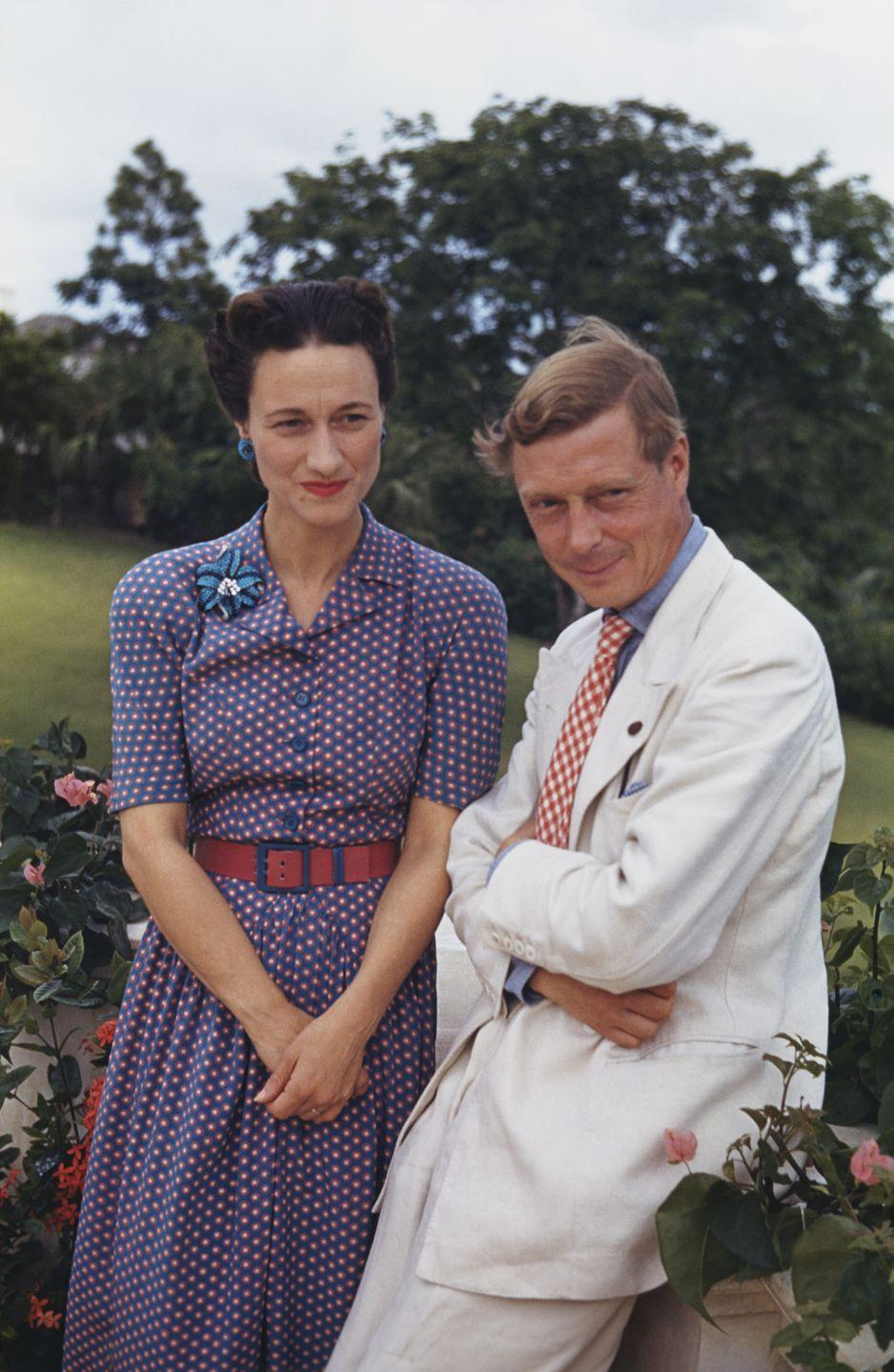 """<p>Among other things, the Duchess of Windsor was a master at making <a href=""""https://www.townandcountrymag.com/style/jewelry-and-watches/a36611738/animal-jewelry-exhibit-natural-history-museum-nyc/"""" rel=""""nofollow noopener"""" target=""""_blank"""" data-ylk=""""slk:bold statements through jewelry"""" class=""""link rapid-noclick-resp"""">bold statements through jewelry</a>. She favored <a href=""""https://www.townandcountrymag.com/style/jewelry-and-watches/a36421765/brooches-jewelry-trend-2021/"""" rel=""""nofollow noopener"""" target=""""_blank"""" data-ylk=""""slk:big, eye-catching brooches"""" class=""""link rapid-noclick-resp"""">big, eye-catching brooches</a>, especially, perhaps as a symbol of rebellion against the royal family and its more traditional tastes. Case in point: this turquoise, sapphire, and diamond brooch, which she wore with matching earrings while in the Bahamas with the Duke of Windsor in 1942. </p>"""