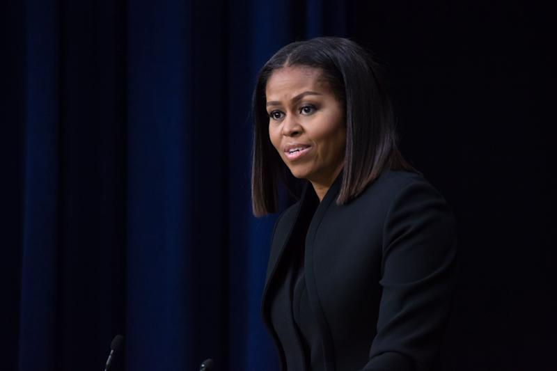 On Thursday, December 15th, in the South Court Auditorium of the Eisenhower Executive Office Building of the White House, First Lady Michelle Obama speaks after the screening of the film, and panel discussion with the cast of Hidden Figures, a biographical film that tells the story of NASA pioneers Katherine Johnson, Dorothy Vaughn, and Mary Jackson, African-American women whose work enabled the first launches of Americans into space. (Photo by Cheriss May/NurPhoto via Getty Images)