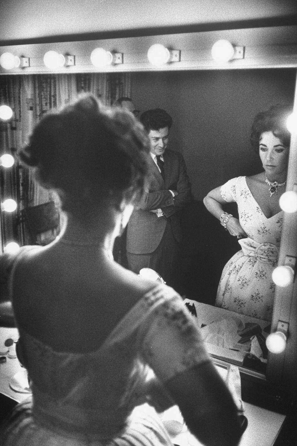 <p>Eddie Fisher and Elizabeth Taylor before his show in 1959. Fisher's first wife, Debbie Reynolds, was Taylor's best friend at the time of his first marriage.</p>