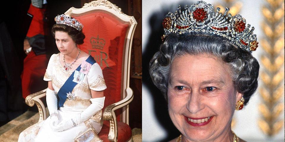 """<p>The queen was given almost 100 Burmese rubies for her wedding day, and had them made into a <a href=""""http://orderofsplendor.blogspot.com/2012/05/tiara-thursday-burmese-ruby-tiara.html"""" rel=""""nofollow noopener"""" target=""""_blank"""" data-ylk=""""slk:tiara"""" class=""""link rapid-noclick-resp"""">tiara</a> in 1973. She combined the rubies with diamonds made from a different dismantled tiara. #TooManyTiaras</p>"""