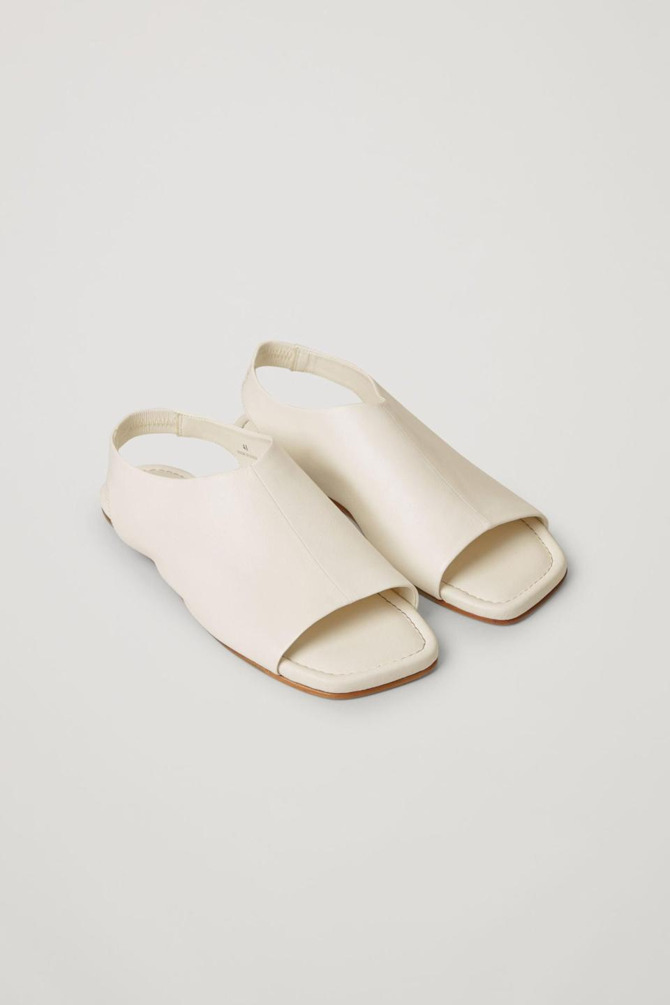<p><span>COS Leather Open-Toe Sandals in Off-White</span> ($135)</p>