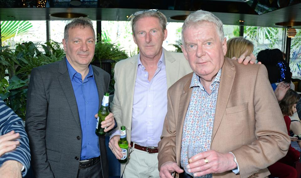 LONDON, ENGLAND - APRIL 19:  Jed Mercurio, Adrian Dunbar and John Motson attend the BAFTA TV Awards Nominees' Party at Mondrian London on April 19, 2018 in London, England.  (Photo by David M. Benett/Dave Benett/Getty Images for Mondrian London )