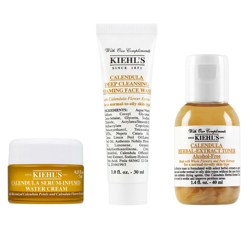 """We know, there are only three products above—but all told, you'll score eight (<em>eight</em>) free Kiehl's products with your $125 online purchase of products from the brand. Included, you ask? The brand's Calendula Deep Cleansing Foaming Face Wash for Normal-to-Oily Skin (above middle), Calendula Herbal Extract Alcohol-Free Toner (above right), Calendula & Aloe Soothing Hydration Masque, Calendula Serum-Infused Water Cream (above left), Powerful-Strength Line-Reducing Concentrate Serum, Herbal-Infused Micellar Cleansing Water, Ultra Facial Cream, and Ultra Facial Cleanser. As far as your path to this sample jackpot, we highly suggest the best-selling <a href=""""https://www.glamour.com/gallery/nordstrom-anniversary-sale-2019-best-beauty-deals?mbid=synd_yahoo_rss"""">XXL Creme de Corps body cream</a>, $49; this <a href=""""https://click.linksynergy.com/deeplink?id=3r4YdkDiq/o&mid=1237&u1=GWP4&murl=https%3A%2F%2Fshop.nordstrom.com%2Fs%2Fkiehls-since-1851-midnight-recovery-concentrate-and-eye-concentrate-duo-84-value%2F5133683%3Forigin%3Dcategory-personalizedsort%26breadcrumb%3DHome%2FBrands%2FKiehl%2527s%2520Since%25201851%26color%3Dnone"""">Midnight Recovery Concentrate set</a> (with both serum and eye cream for after a late night), $68 (an $84 value), or this <a href=""""https://click.linksynergy.com/deeplink?id=3r4YdkDiq/o&mid=1237&u1=GWP5&murl=https%3A%2F%2Fshop.nordstrom.com%2Fs%2Fkiehls-since-1851-ultra-healthy-skin-favorites-set-88-value%2F5266329%3Forigin%3Dkeywordsearch-personalizedsort%26breadcrumb%3DHome%2FAll%2520Results%26color%3Dnone"""">Ultra Healthy Skin Set</a>, $62, that will reboot your skin."""