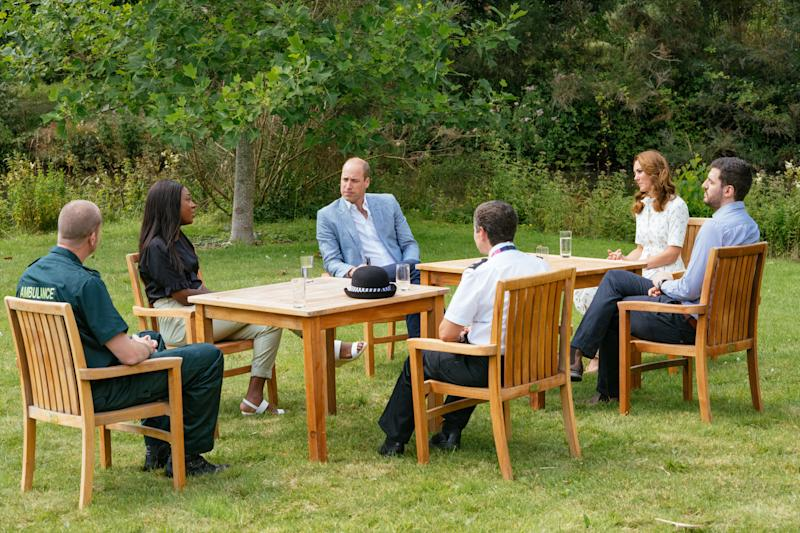 SANDRINGHAM, UNITED KINGDOM - JULY: In this undated handout photo issued on July 23, 2020 by Kensington Palace, Prince William, Duke of Cambridge and Catherine, Duchess of Cambridge speak to four representatives from organisations which will benefit from the Royal Foundation's £1.8 Million fund to support frontline workers and the nation's mental health at the Sandringham Estate in Sandringham, United Kingdom. (Photo by Kensington Palace via Getty Images)