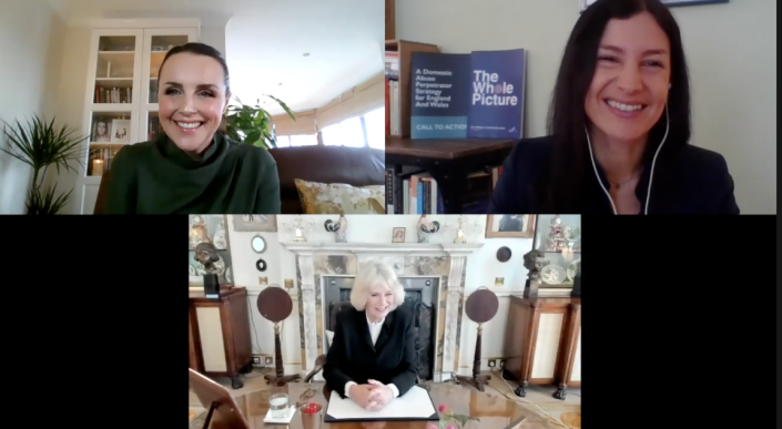 The duchess held a call with Rachel Williams, top left, and Suzanne Jacob, top right, about the Ask for ANI scheme. (Clarence House)